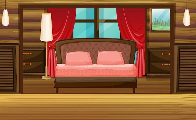 Bedroom in wooden house