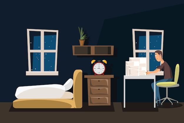 Bedroom and working space interior vector illustration