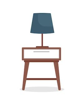 ランプセミフラットカラーベクトルオブジェクトとベッドサイドテーブル。モダンな家庭用家具。白地にリアルなアイテム。グラフィックデザインとアニメーションのための家庭用家具孤立したモダンな漫画スタイルのイラスト