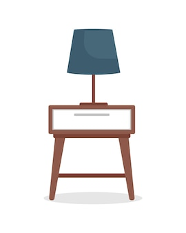 Bedside table with lamp semi flat color vector object. modern home furniture. realistic item on white. household furnishing isolated modern cartoon style illustration for graphic design and animation