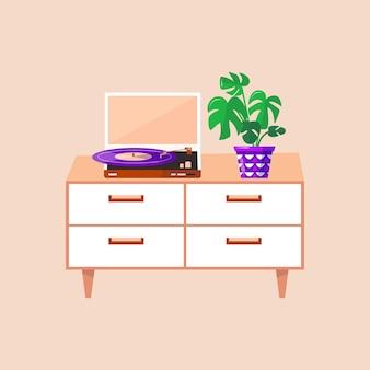 비닐 레코드용 턴테이블과 화분이 있는 침대 옆 탁자. 편안한 아파트의 아늑한 라운지 공간을 위한 인테리어 디자인입니다. 벡터 복고풍 레코드 플레이어