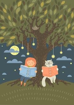 Bedtiime 독서. 판타지 고양이와 귀여운 소녀는 나무 아래에서 저녁에 책을 읽었습니다.
