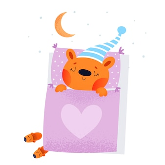 Bedtime or good night childish illustration in flat style with baby bear