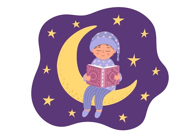 취침 시간 이야기 잠옷에 귀여운 어린 소년이 달에 책을 읽습니다.