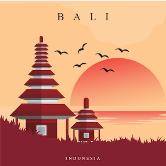 Bedugul bali illustration
