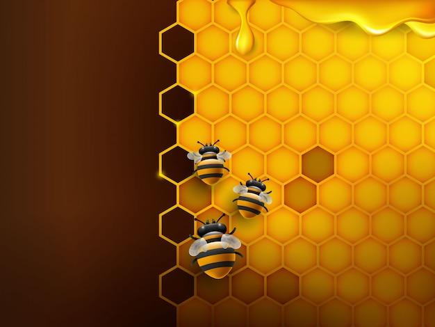 Пчела и сотовый фон в оранжевом цвете