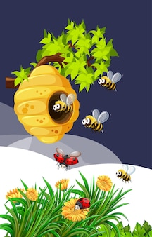 自然界の蜂とてんとう虫 無料ベクター