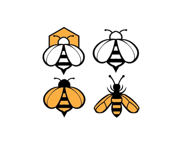 Bee animal  icon. honey flying bee.