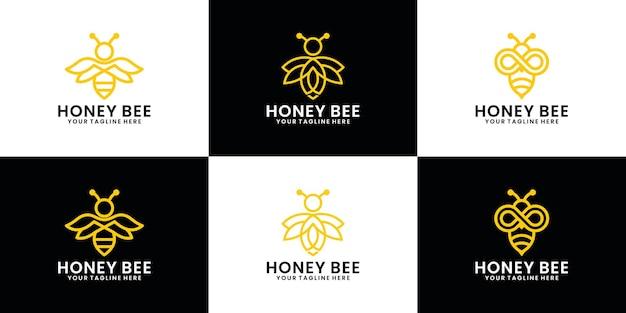 蜂の動物のロゴデザインコレクション、ラインアートスタイルのミツバチ