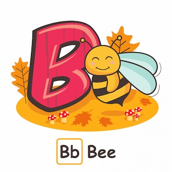 Bee animals alphabets from letters b