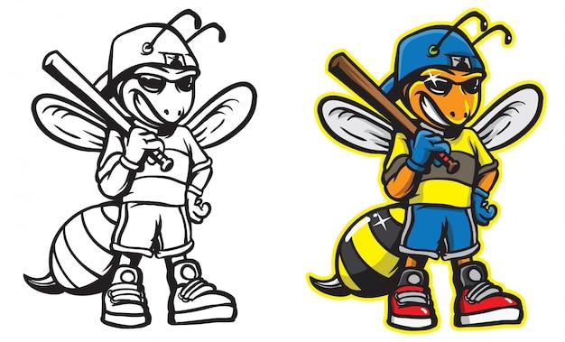 Bee baseball mascot illustration