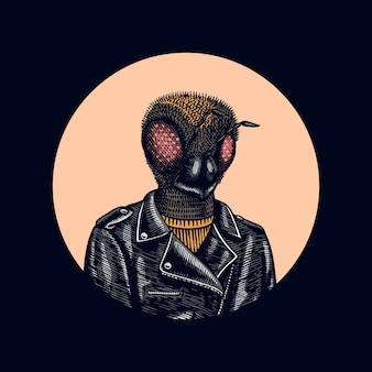 비 바이커. 가죽 재킷. 패션 곤충 캐릭터. 손으로 그린 된 스케치.
