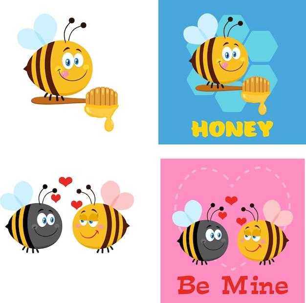 Персонажи мультфильмов пчелы. плоский набор сбора изолированные