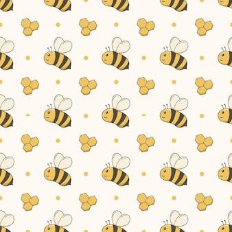 Bee cartoon seamless pattern