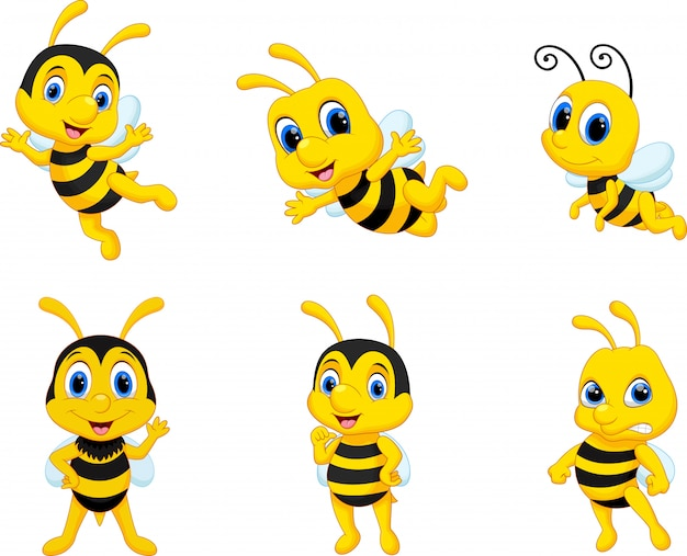 Bee cartoon set collection
