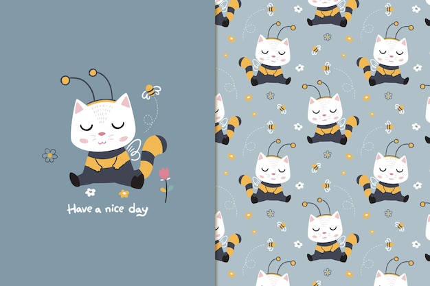 Bee cat seamless pattern