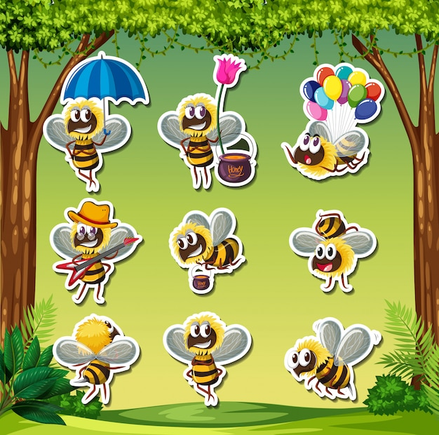 Bee characater sticker nature background