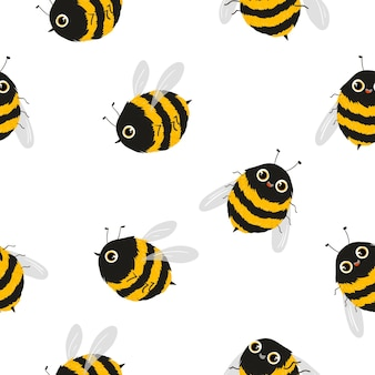 Bee character seamless pattern, vector bee pattern eps10