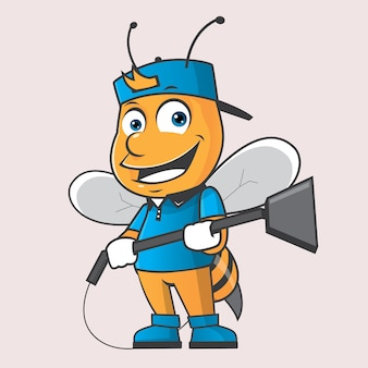 Bee cleaning mascot logo