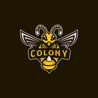 Bee colony mascot illustration