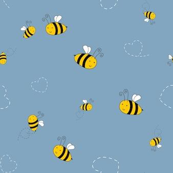 子供のテキスタイルのための蜂のかわいいシームレスパターンの背景。ベクトルイラスト