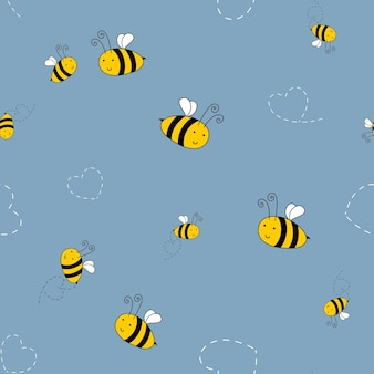 Bee cute seamless pattern background for kids textile. vector illustration