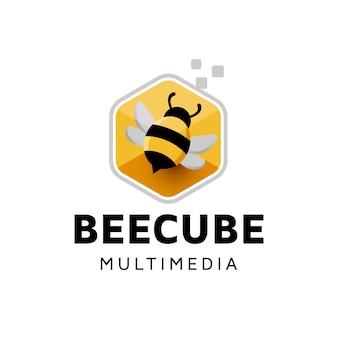 Дизайн логотипа пчелы цифровой куб