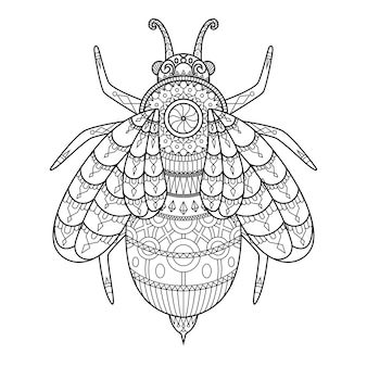 Bee drawn in doodle style
