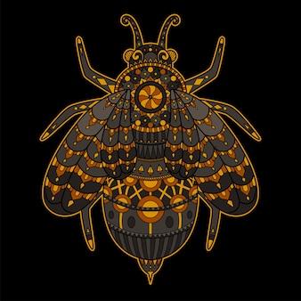 Пчела, нарисованная в стиле дзентангл