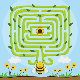 Bee find honey animals maze tree games