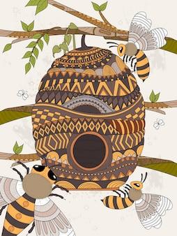 蜂がハチの巣の大人のぬりえを飛び回る