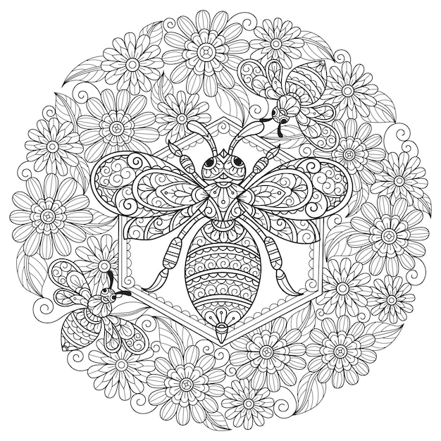 Bee and flower, hand drawn sketch illustration for adult coloring book.