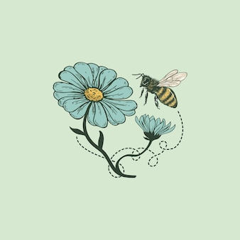 Bee flower logo