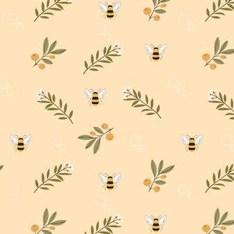 Bee and flower on yellow background seamless pattern