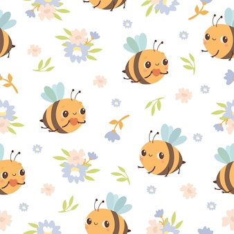 Bee and flowers seamless pattern