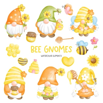 Bee gnome watercolor element