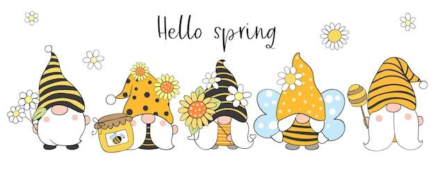 Пчелиные гномы с цветком на весну Premium векторы