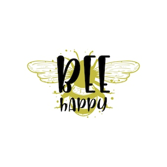 Bee happy quote lettering illustration vector