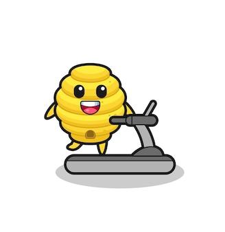 러닝머신 위를 걷는 꿀벌 만화 캐릭터, 귀여운 디자인