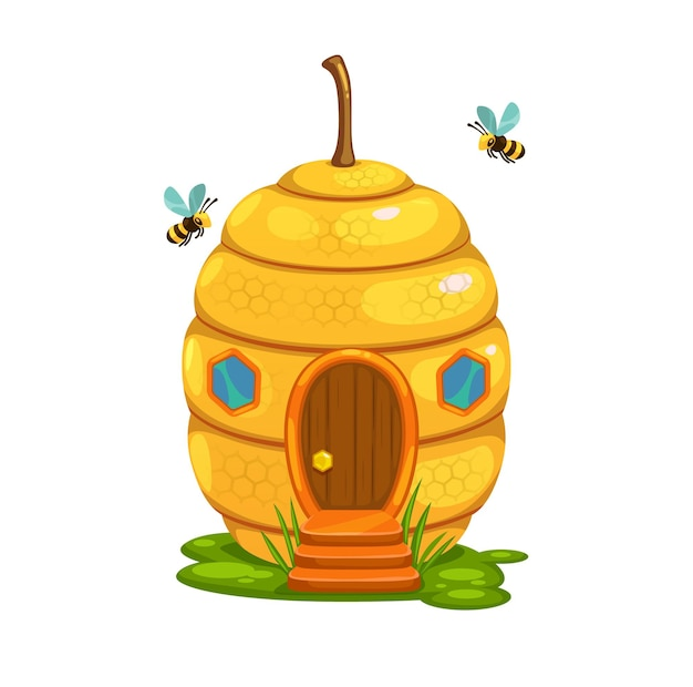 Bee hive cartoon fairy house or dwelling of honey bee swarm nest. vector fantasy building in shape of wild honeybee beehive with honeycombs, yellow wax and hexagon windows, grass and wood porch stairs