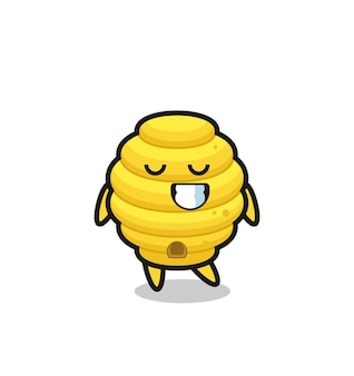 Bee hive cartoon illustration with a shy expression , cute design