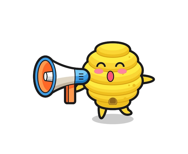 Bee hive character illustration holding a megaphone , cute design