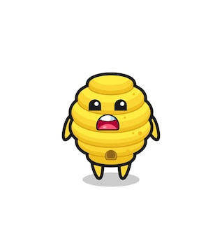 Bee hive illustration with apologizing expression, saying i am sorry , cute design
