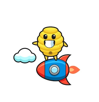 Персонаж-талисман пчелиного улья, едущий на ракете, милый дизайн