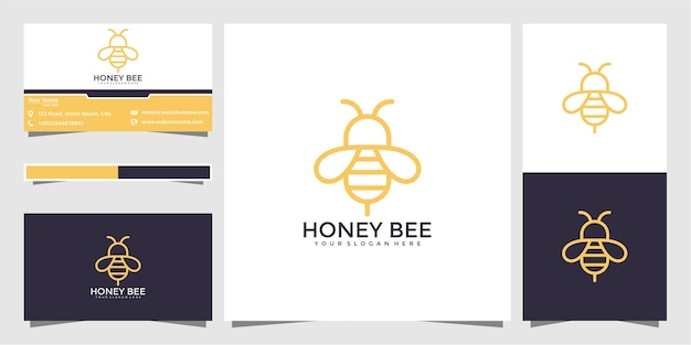 Пчелиный мед творческий значок символ логотип линии арт стиль линейный логотип. дизайн логотипа и визитная карточка