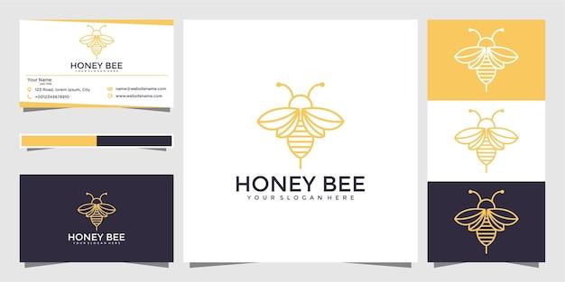Bee honey creative icon symbol logo line art style linear logotype. logo design and business card
