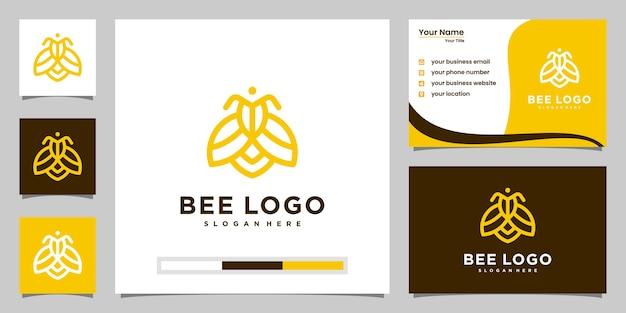 蜂蜂蜜クリエイティブアイコンシンボルロゴラインアートスタイル線形ロゴタイプ。ロゴデザイン、アイコン、名刺
