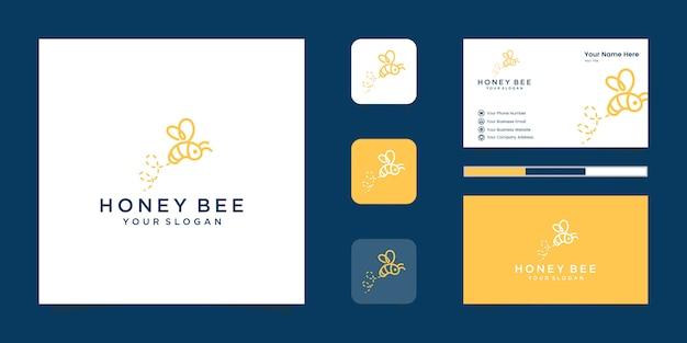 꿀벌 꿀 창조적 인 아이콘 기호 로고 라인 아트 스타일 선형 로고. 로고 디자인, 아이콘 및 명함
