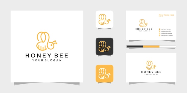 Bee honey creative icon symbol logo line art style linear logotype. logo design, icon and business card