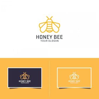 蜂蜂蜜創造的なアイコンシンボルロゴラインアートスタイル線形ロゴタイプ。ロゴデザイン